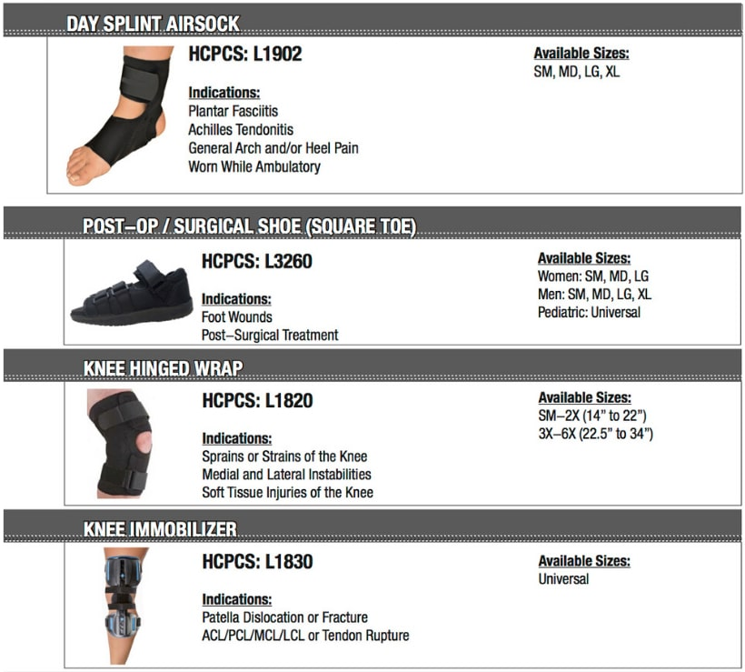Day Splint Airsock, Post-Op Surgical Shoe, Knee Hinged Wrap, Knee Immobilizer